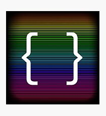 Curly Bracket Icon Isolated on Colorful Neon Background Photographic Print