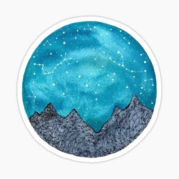 mountains and galaxy Sticker