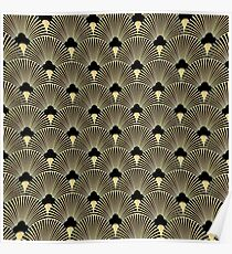 Art Deco, Fanmuster, Weinlese, 1920 Ära, Gold, Schwarzes, elegant, Chic, der große Gatsby, modern, modisch, girly Poster