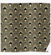 Art deco, fan pattern, vintage,1920 era, gold,black,elegant,chic,The Great Gatsby,modern,trendy,girly Poster