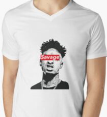 21 sauvages T-shirt col V homme