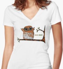 Don't Shoot Owl Women's Fitted V-Neck T-Shirt