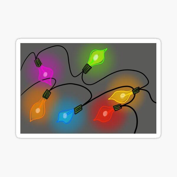 Mid Century Modern Christmas Tree Lights Sticker