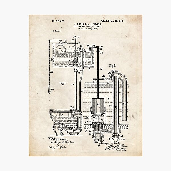Toilet Cistern Patent Photographic Print