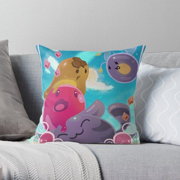 Adventurous Slimes Throw Pillow