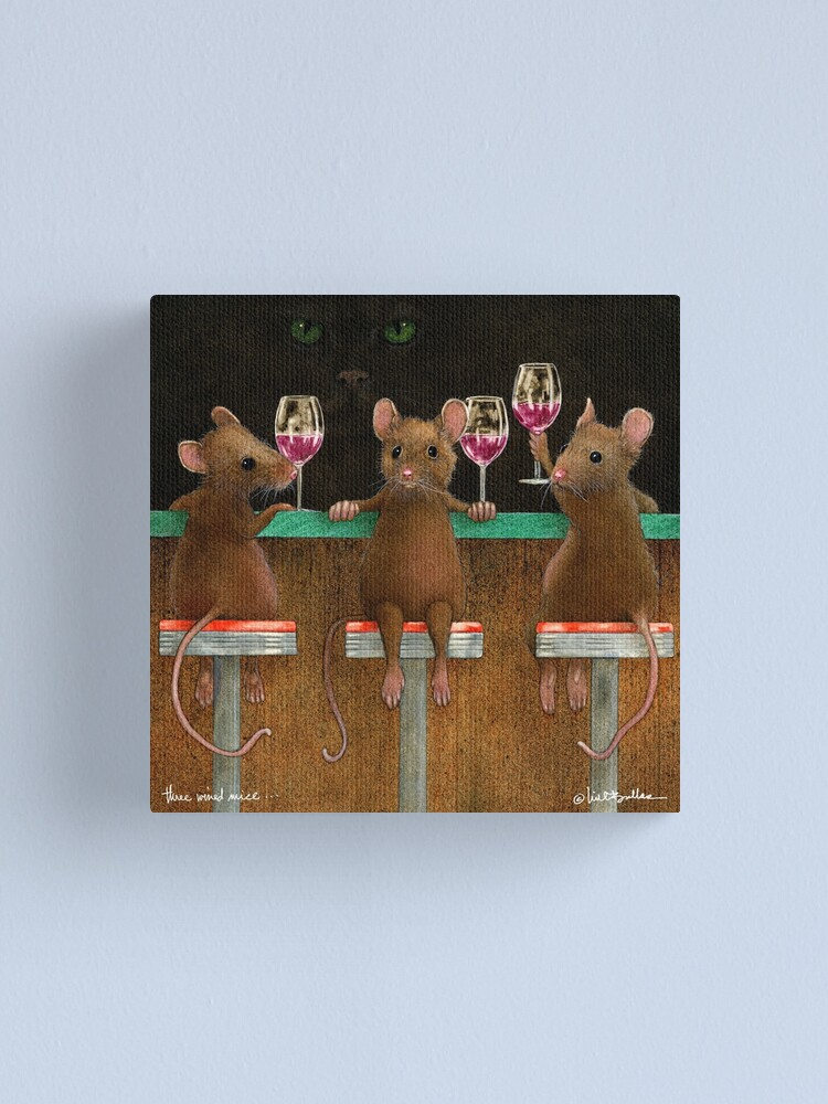 Alternate view of Will Bullas print / three wined mice  /animals / wine / mouse Canvas Print