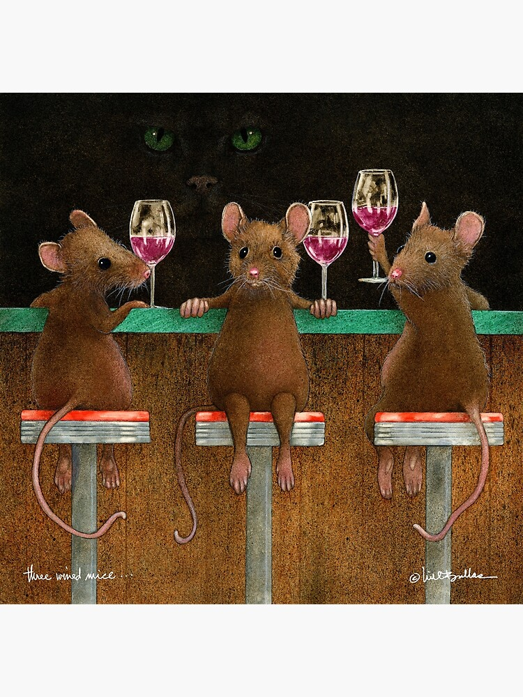 Will Bullas print / three wined mice  /animals / wine / mouse by willbullas