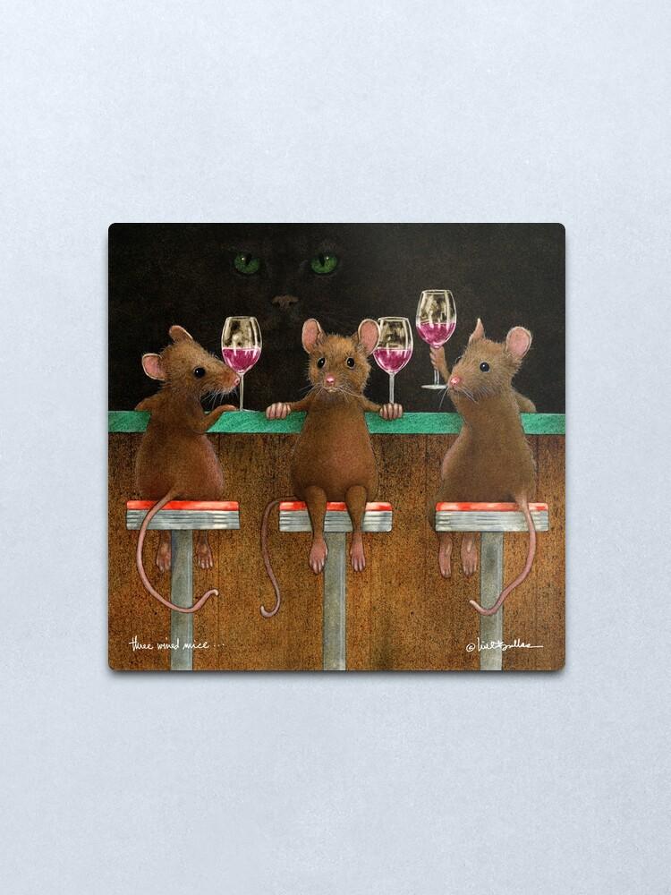 Alternate view of Will Bullas print / three wined mice  /animals / wine / mouse Metal Print