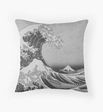 Black and White Japanese Great Wave off Kanagawa by Hokusai Throw Pillow