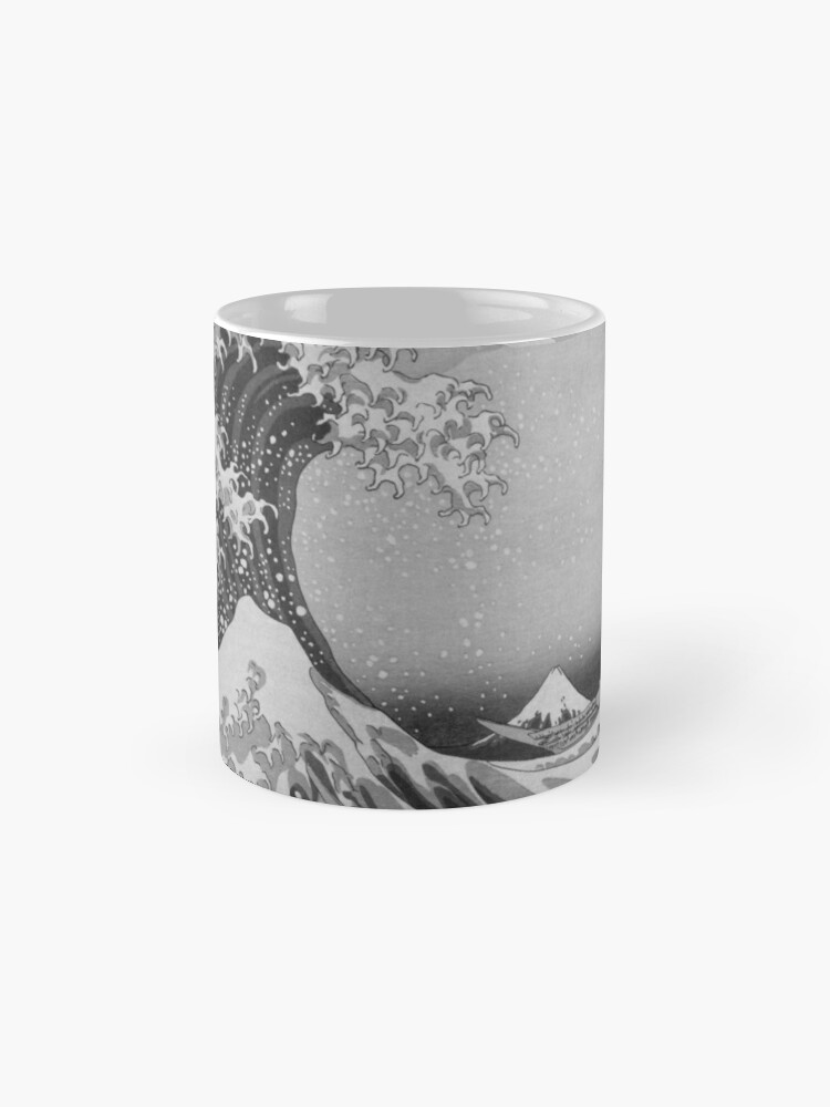Alternate view of Black and White Japanese Great Wave off Kanagawa by Hokusai Mug