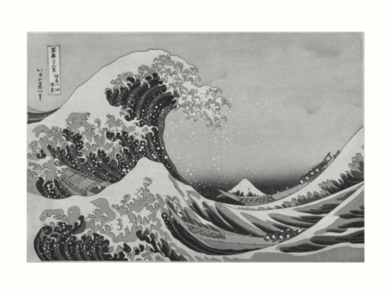 Black and white japanese great wave off kanagawa by hokusai by podartist