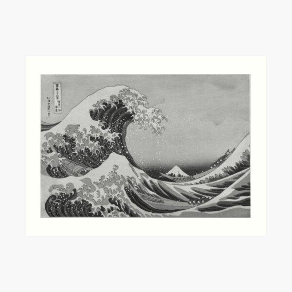 Black and White Japanese Great Wave off Kanagawa by Hokusai Art Print