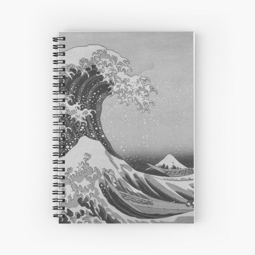 Black and White Japanese Great Wave off Kanagawa by Hokusai Spiral Notebook