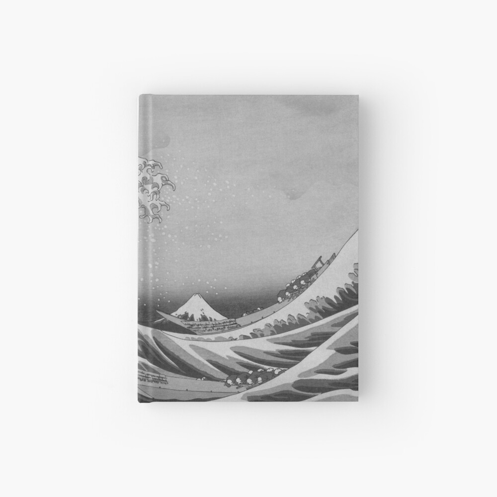 Black and White Japanese Great Wave off Kanagawa by Hokusai Hardcover Journal
