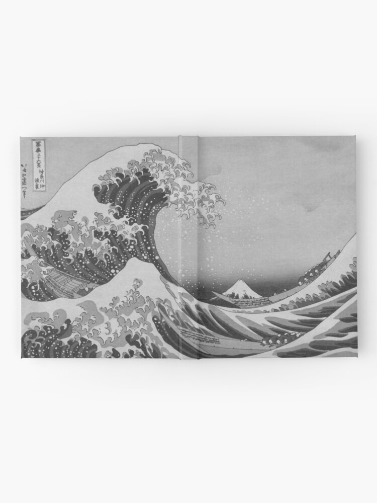 Alternate view of Black and White Japanese Great Wave off Kanagawa by Hokusai Hardcover Journal