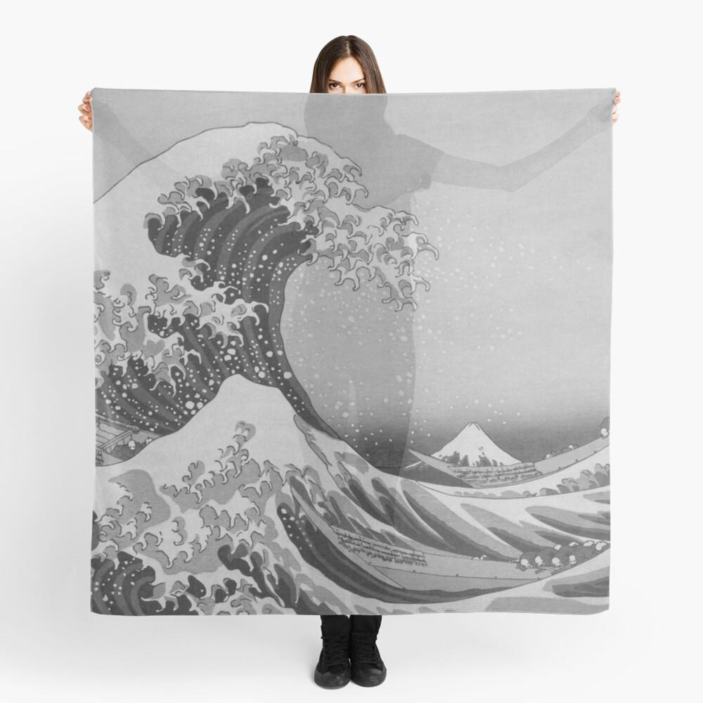 Black and White Japanese Great Wave off Kanagawa by Hokusai Scarf