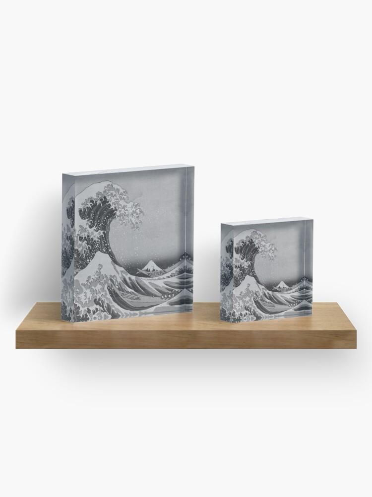 Alternate view of Black and White Japanese Great Wave off Kanagawa by Hokusai Acrylic Block