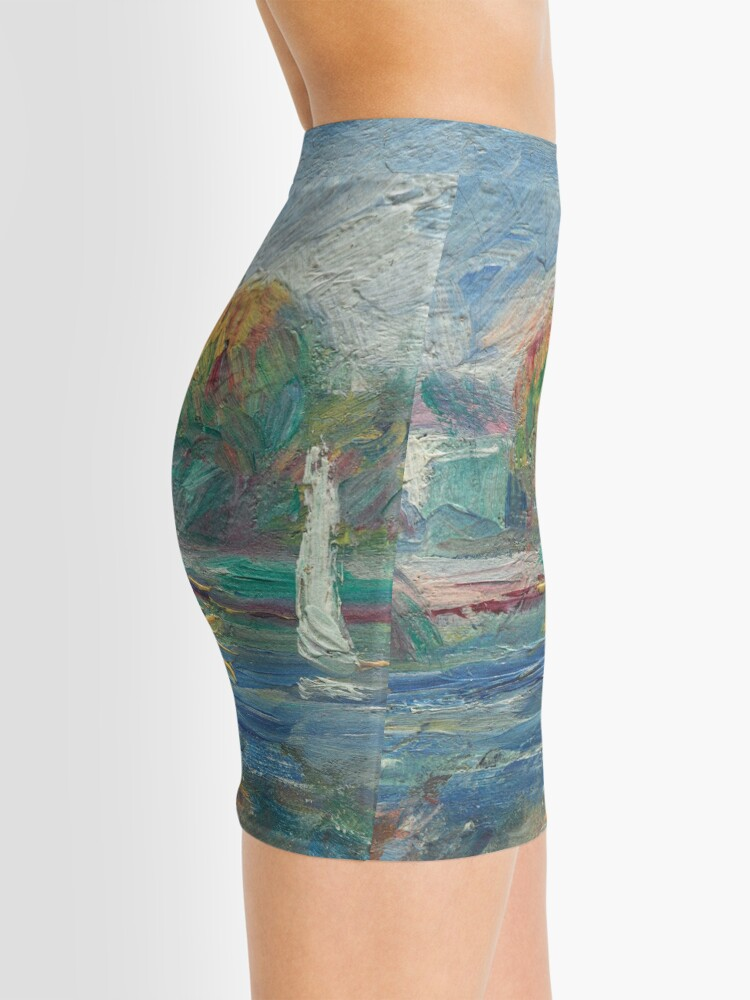 Alternate view of The Blue River Oil Painting by Auguste Renoir Mini Skirt