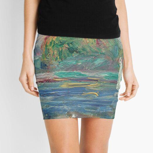The Blue River Oil Painting by Auguste Renoir Mini Skirt