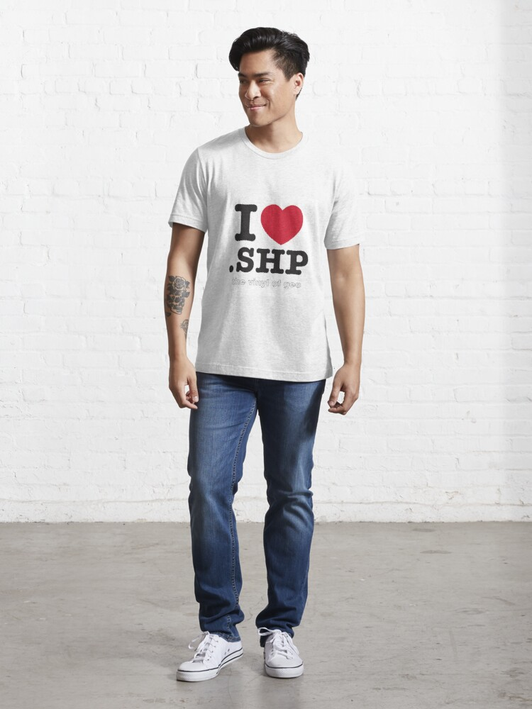 Alternate view of I <3 .shp, the vinyl of geo Essential T-Shirt