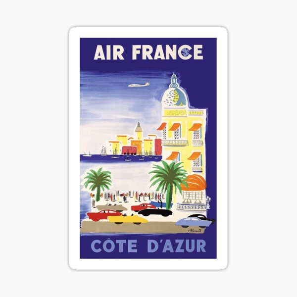 1952 Air France Cote d´Azur Travel Poster Sticker