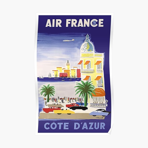 1952 Air France Cote d´Azur Travel Poster Poster