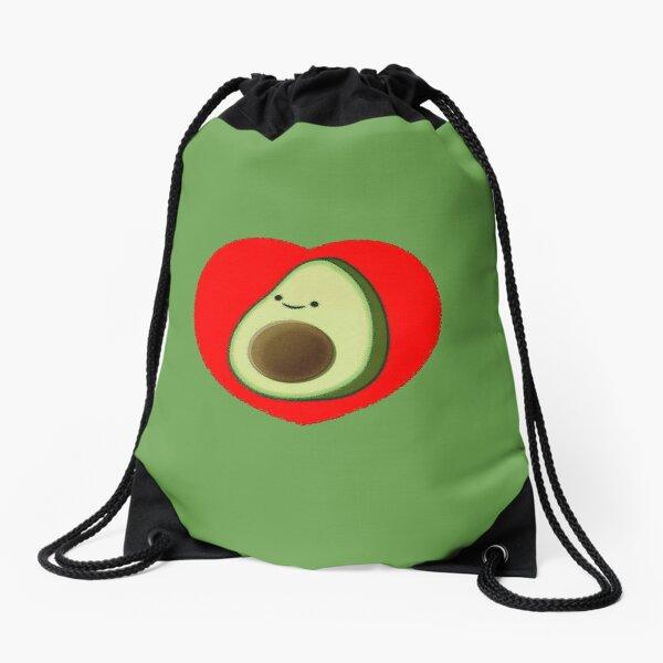 Cute Avocado In Red Heart Drawstring Bag