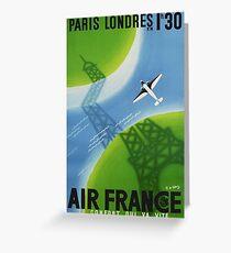 1936 Air France Paris to London Travel Poster Greeting Card