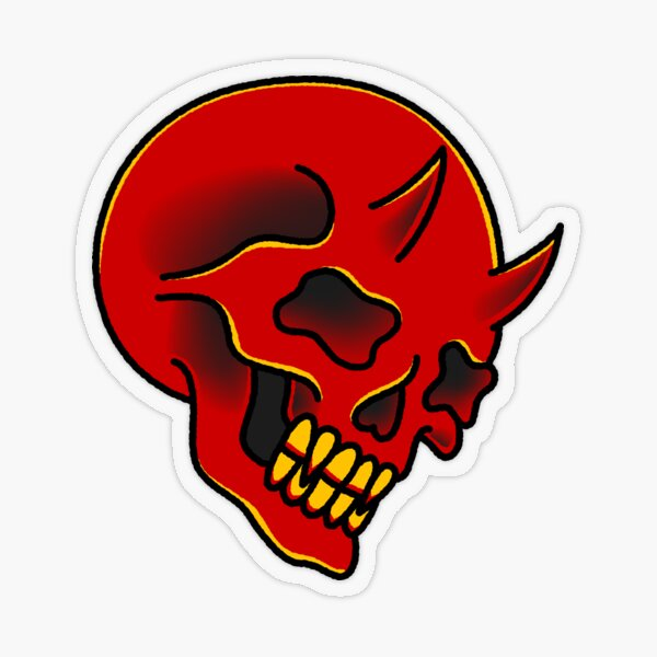 American Traditional Red Demon Skull Transparent Sticker