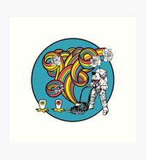 Astronaut Clown Mower 4 color print Art Print