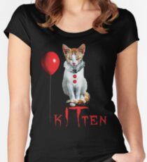 Kitten Clown Scary Fun Spooky Halloween Cat Funny Joke Design Women's Fitted Scoop T-Shirt