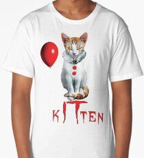 Kitten Clown Scary Fun Spooky Halloween Cat Funny Joke Design Long T-Shirt