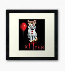 Kitten Clown Scary Fun Spooky Halloween Cat Funny Joke Design Framed Print