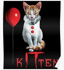 Kitten Clown Scary Fun Spooky Halloween Cat Funny Joke Design Poster