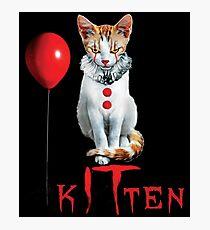 Kitten Clown Scary Fun Spooky Halloween Cat Funny Joke Design Photographic Print
