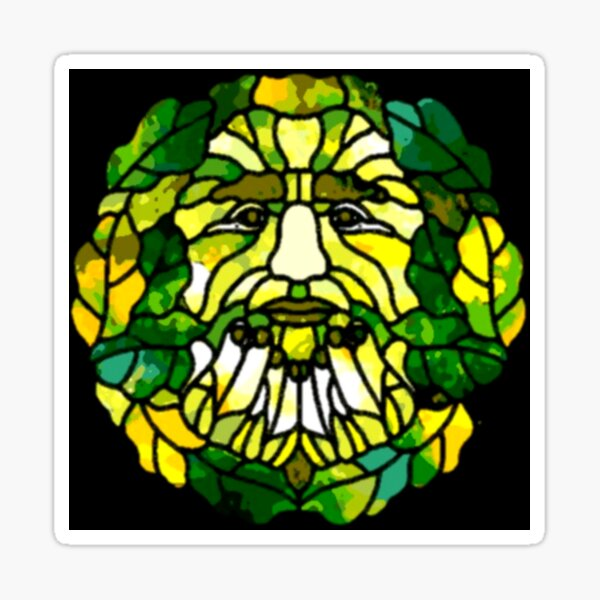 Pagan Green Man Stained Glass Sticker