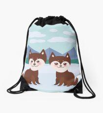 Funny husky dogs Drawstring Bag