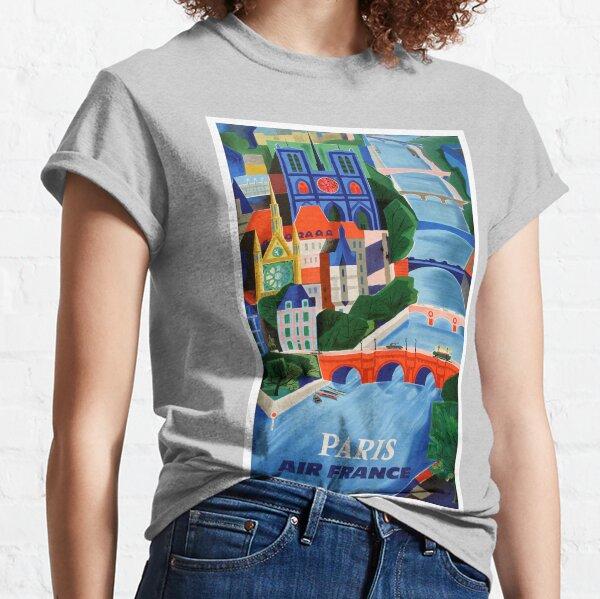 1960 Air France Paris Bridges Travel Poster Classic T-Shirt