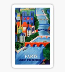 1960 Air France Paris Bridges Travel Poster Sticker