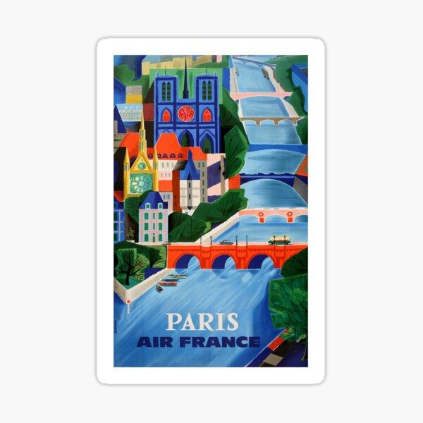 1960 Air France Paris Bridges Travel Poster Sticker