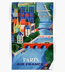 1960 Air France Paris Brücken Reiseplakat Poster