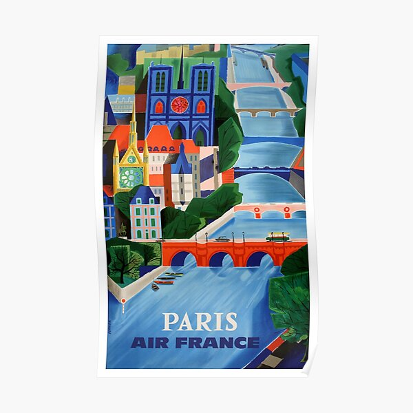 1960 Air France Paris Bridges Travel Poster Poster