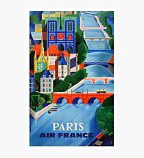 1960 Air France Paris Bridges Travel Poster Photographic Print
