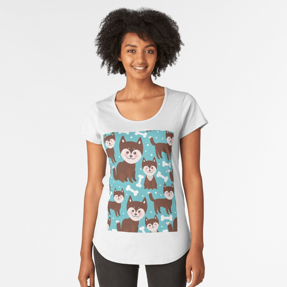 Happy husky puppy Women's Premium T-Shirt Front