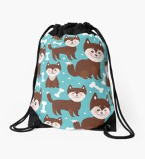 Happy husky puppy Drawstring Bag