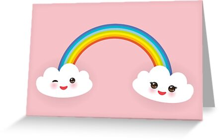 Rainbow and smiling clouds on pink by EkaterinaP