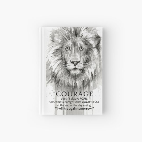 Courage Quote Lion Motivational Watercolor Hardcover Journal