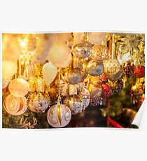 Christmas decoration on an european market Poster
