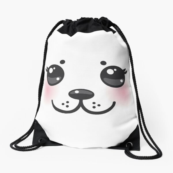 seal baby Kawaii funny albino animal with pink cheeks and big black eyes Drawstring Bag