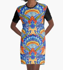 Hand-Painted Abstract Botanical Pattern Brilliant Blue Orange Graphic T-Shirt Dress